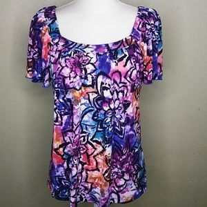 AB Studio Stained Glass Print Loose-Fitting Top M